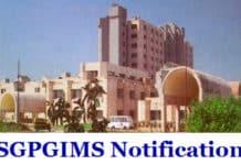 SGPGIMS Chemistry & Pharma Official Job Notification 2019