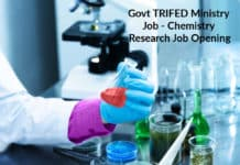 Govt TRIFED Ministry Job - Chemistry Research Job Opening