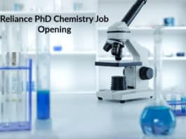 Reliance PhD Chemistry Job Opening - Research Scientist Post
