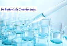 Dr Reddy's Sr Chemist Jobs – MSc Chemistry Job Opening