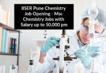 IISER Pune Chemistry Job Opening - Msc Chemistry Jobs with Salary up to 50,000 pm