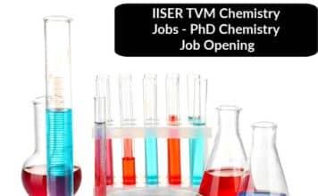 IISER TVM Chemistry Jobs - PhD Chemistry Job Opening