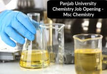 Panjab University Chemistry Job Opening - Msc Chemistry