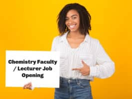 Chemistry Faculty / Lecturer Job Opening With High Salary