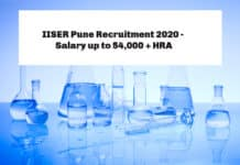 IISER Pune Recruitment 2020 - Chemistry Jobs Salary up to 54,000 + HRA