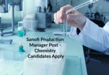 Sanofi Production Manager Post - Chemistry Candidates Apply