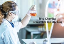 Teva Chemical Researcher Job Opening - Apply Now