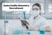 Zydus Cadila Chemistry Recruitment 2020 - Apply
