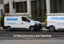 Ecolab Chemistry Regulatory Specialist Post Vacancy - Apply Now