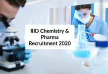 IIID Chemistry & Pharma Recruitment 2020 - Research Assistant Post