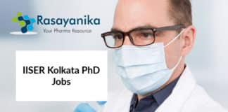IISER Kolkata PhD Jobs - Chemistry Research Associate Salary 47,000/- pm