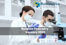 Syngene Chemistry Associate Scientist Vacancy 2020