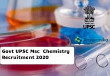 Govt UPSC Msc Organic / Inorganic Chemistry Recruitment 2020 - Apply Online