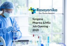 Syngene Pharma & MSc Job Opening - Sr Research Associate