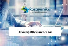 Teva R&D Researcher Job Opening - Chemistry Candidates Apply