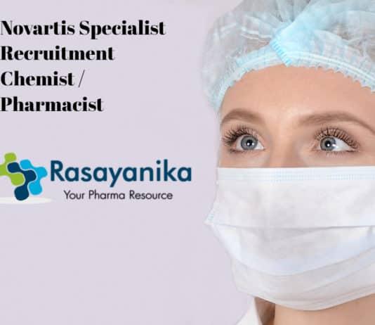 Novartis Specialist Recruitment 2020 - Chemist / Pharmacist