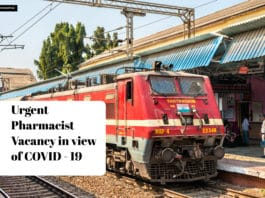 Pharmacist East Coast Railway Job Opening - Urgent Requirement in view of COVID - 19
