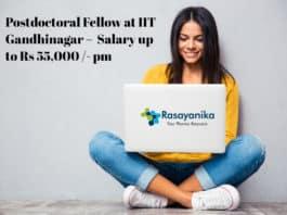 Postdoctoral Fellow at IIT Gandhinagar – Application Details Salary up to Rs 55,000 /- pm