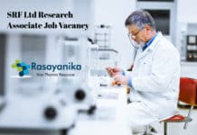 SRF Ltd Research Associate Job Vacancy - Chemistry R&D Analytical