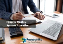 Syngene Quality Systems Executive