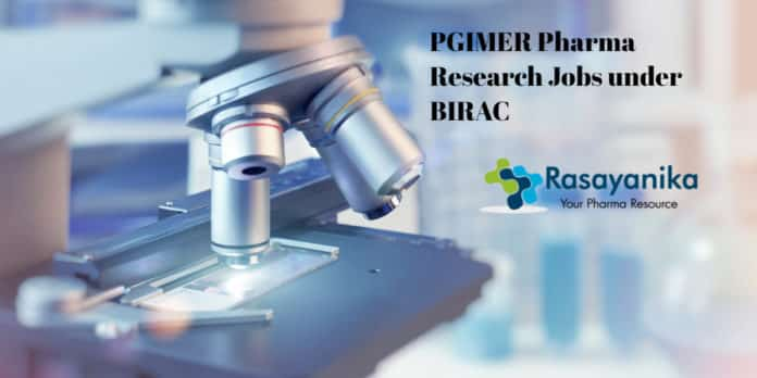 PGIMER Research Jobs under BIRAC - Pharma Candidates Apply