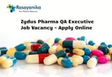 Zydus Pharma QA Executive Job Vacancy - Apply Online