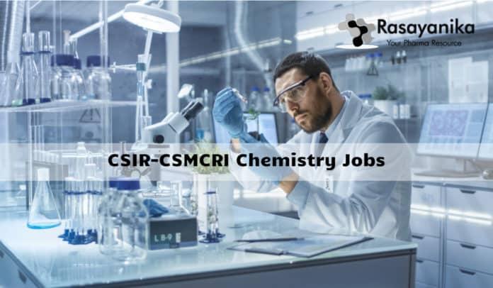 CSIR-CSMCRI PA Recruitment 2020 - MSc Chemistry Job