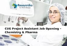 CUG Project Assistant Job Opening - Chemistry & Pharma