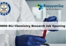 DRDO-DLJ Chemistry Research Job Opening - Salary up to 54,000/- pm