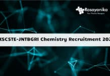 KSCSTE-JNTBGRI Chemistry Recruitment 2020 - Application Details