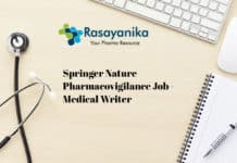 Springer Nature Pharmacovigilance Job - Medical Writer