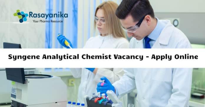 Syngene Analytical Chemist Vacancy - Apply Online