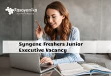 Syngene Freshers Junior Executive Vacancy - BSc Chemistry