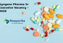 Syngene Pharma Sr Executive Vacancy - Apply Online