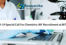 COVID-19 Special Call For Chemistry JRF Recruitment at BITS Pilani