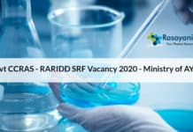 Govt CCRAS - RARIDD SRF Vacancy 2020 - Ministry of AYUSH