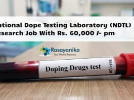 National Dope Testing Laboratory (NDTL) Research Job With Rs. 60,000 /- pm