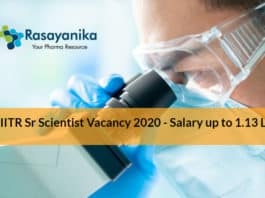 CSIR-IITR Sr Scientist Vacancy 2020 - Salary up to 1.13 Lakh pm