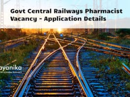 Govt Central Railways Pharmacist Vacancy - Application Details