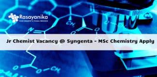 Jr Chemist Vacancy 2020 @ Syngenta - MSc Chemistry Apply
