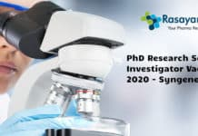 PhD Research Scientist Investigator Vacancy 2020 - Syngene
