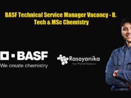 BASF Technical Service Manager Vacancy - B. Tech & MSc Chemistry