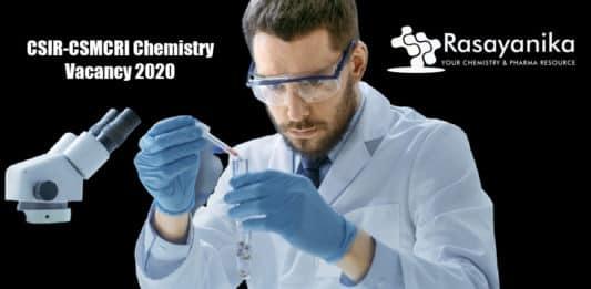CSIR-CSMCRI Chemistry Vacancy 2020 - Applications Invited