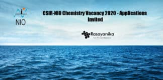 CSIR-NIO Chemistry Vacancy 2020 - Applications Invited
