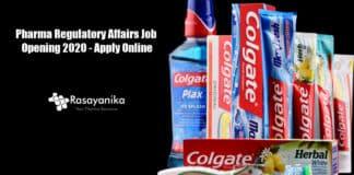 Colgate Pharma Regulatory Affairs Job Opening 2020 - Apply Online