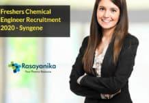 Freshers Chemical Engineer Recruitment 2020 - Syngene