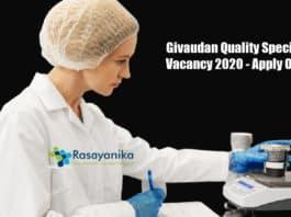 Givaudan Quality Specialist Vacancy 2020 - Apply Online