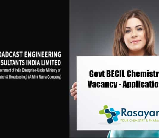 Govt BECIL Chemistry Analyst Vacancy - Applications Invited