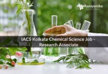 IACS Kolkata Chemical Science Job - Research Associate