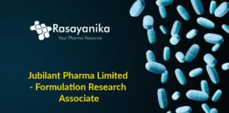 Jubilant Pharma Limited - Formulation Research Associate